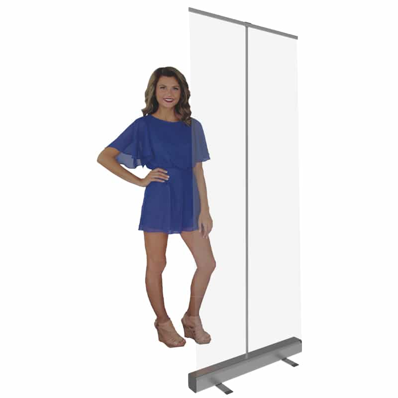 32 inch Plastic Protective Shields with model to show height