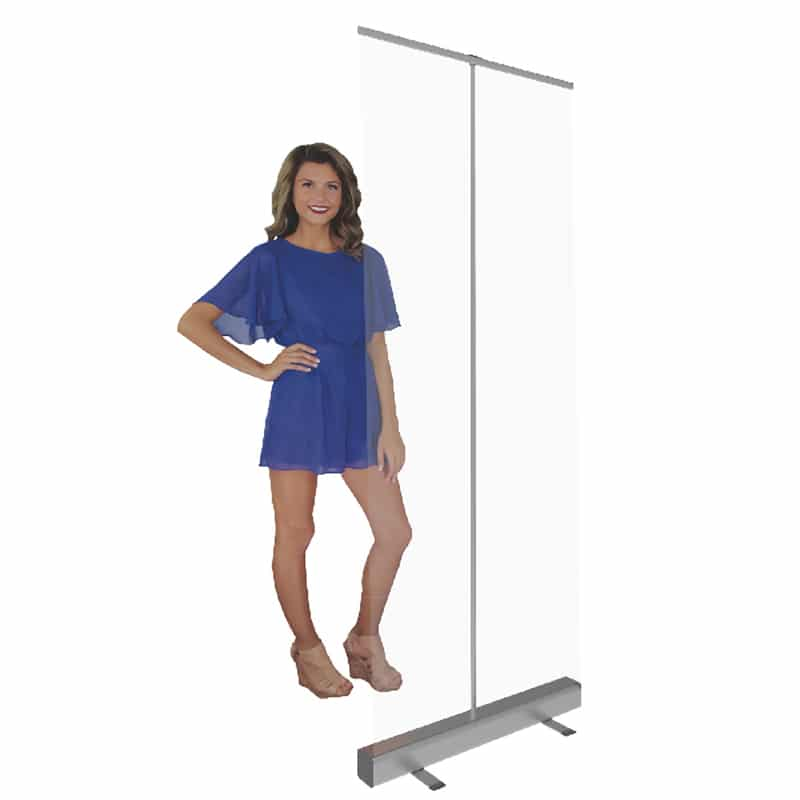 34 inch Safety Clear Shield with model showing height