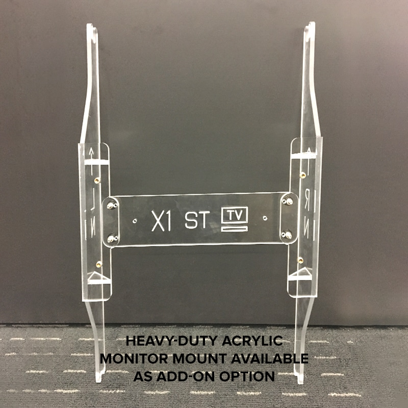 "fabric tower display accessory, ""heavy-duty acrylic monitor mount available as add-on option"""