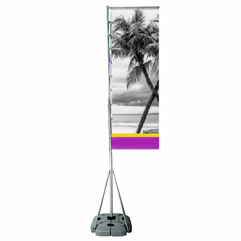 Outdoor Rally Banner with flag hardware and large base