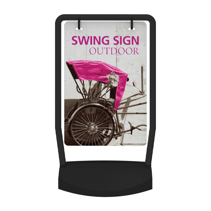 Outdoor Sign Swing with hardware and option for 1 or 2 graphics front view