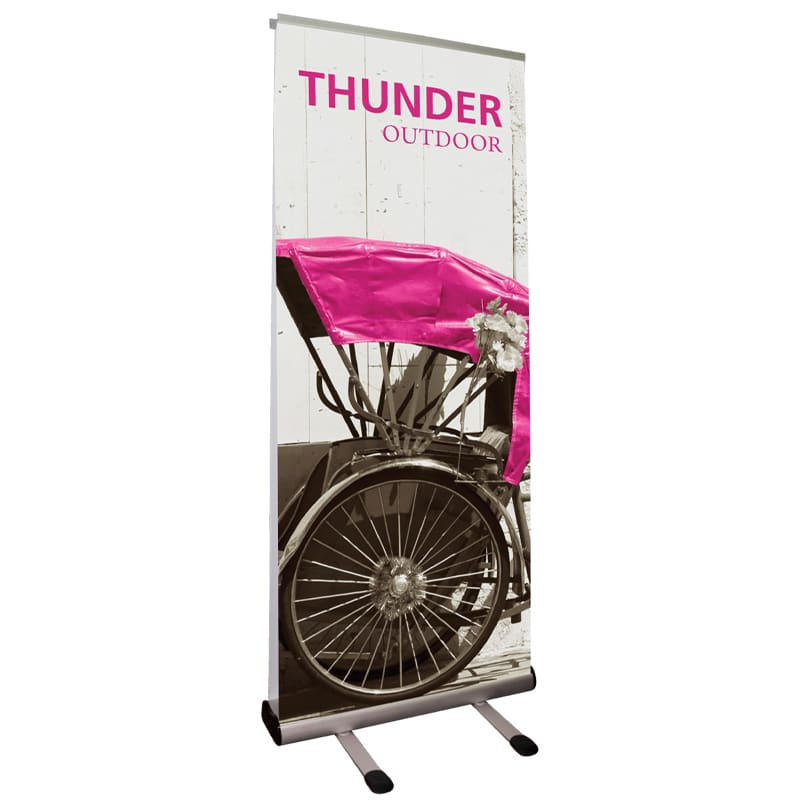 Outdoor Banner Stand Premium with double-sided graphic and carry bag