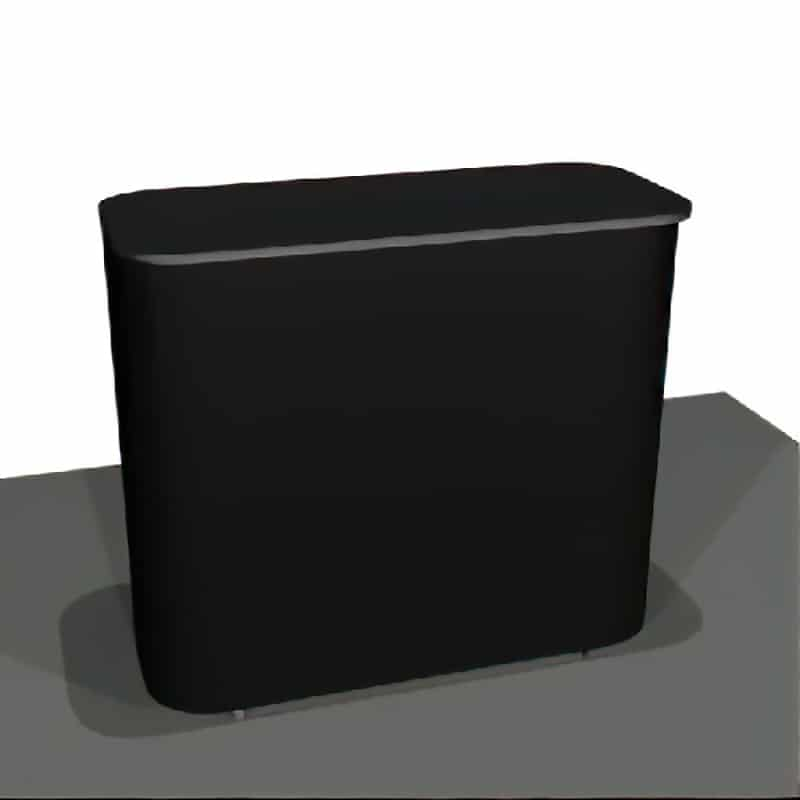 4 foot freestanding lockable show counter, shown in black option