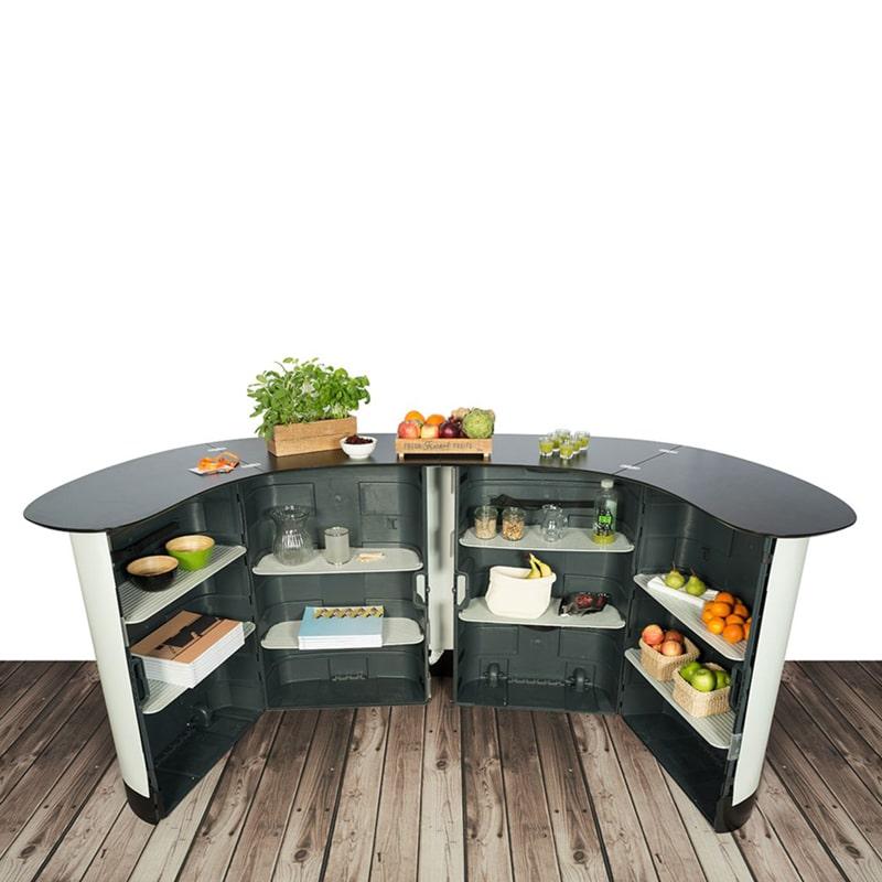 photo of backside - expand xxl podium counter set up with shelving