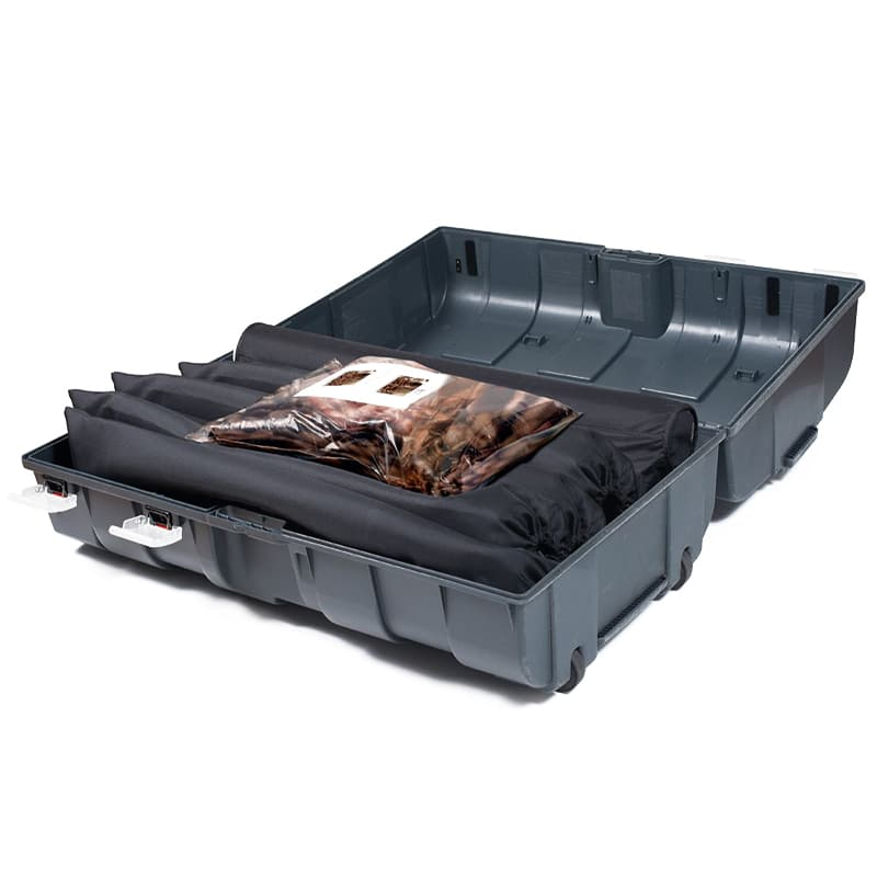 podium counter case lying open showing graphic and accessory storage