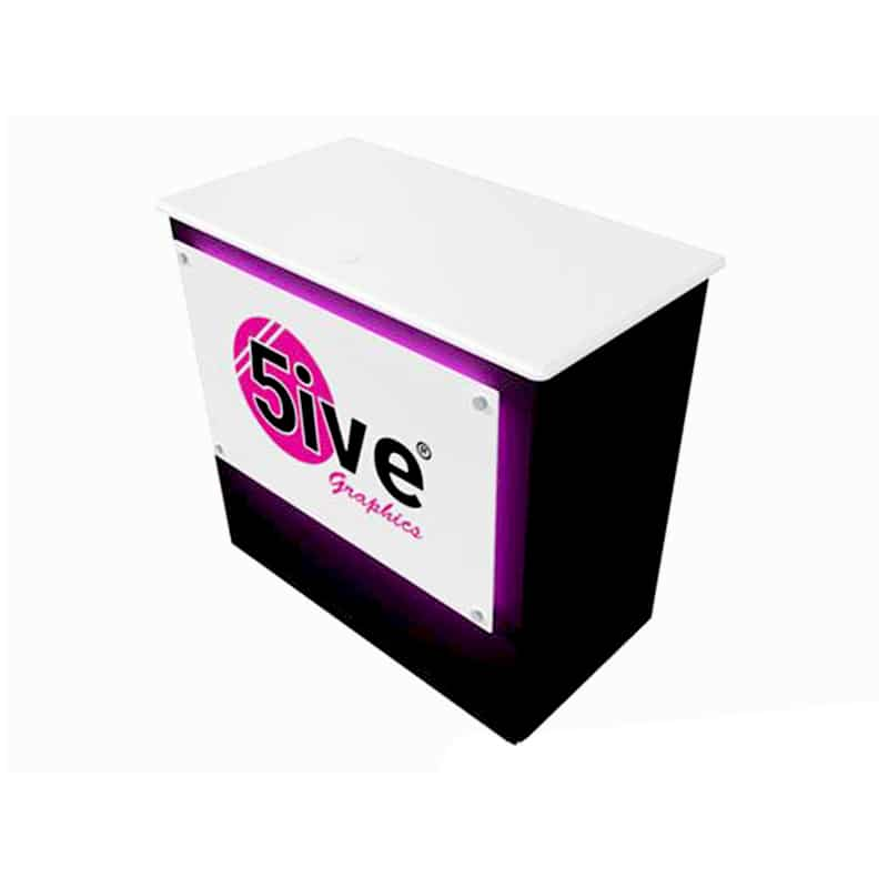 halo lit eye-catching counter with bright magenta backlit front graphic , alternative view