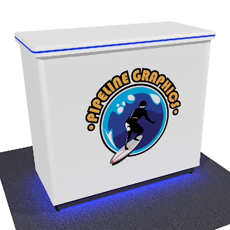 sleek edgelit show counter with blue lighting and printed graphics