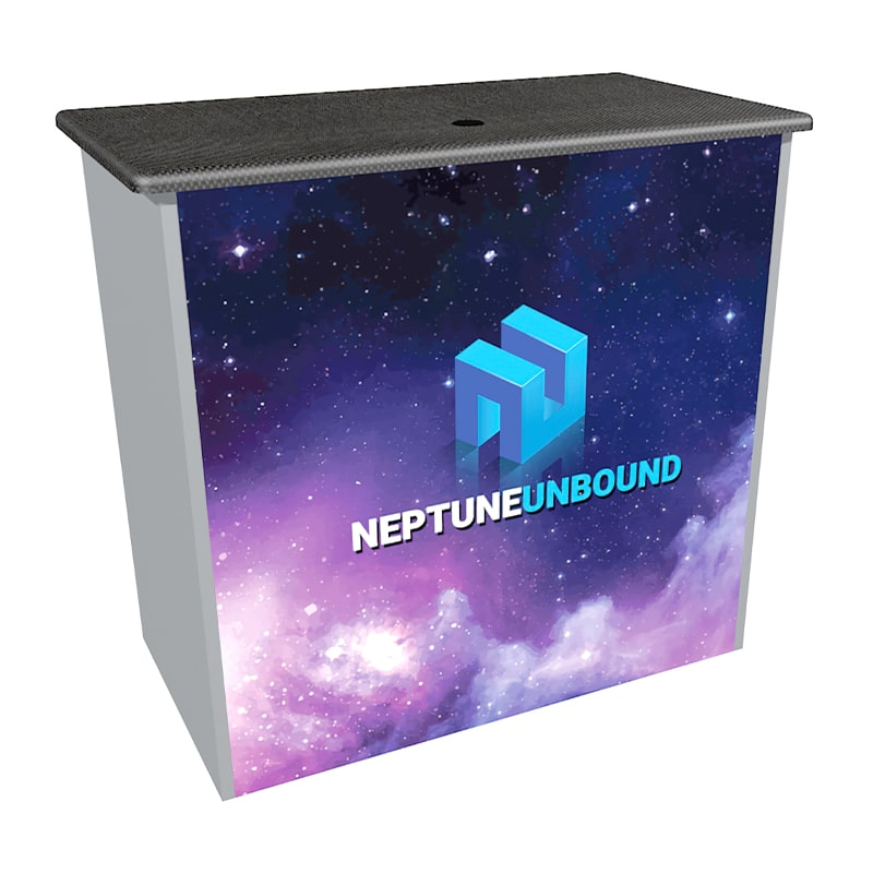lighted counter with colorful front graphics