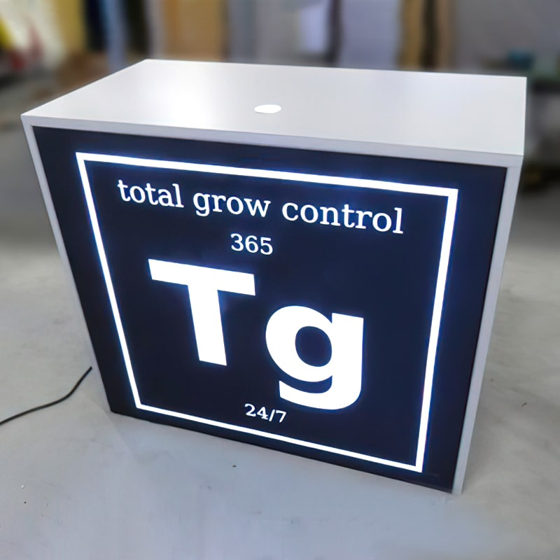 gallery photo of client counter with backlit graphics