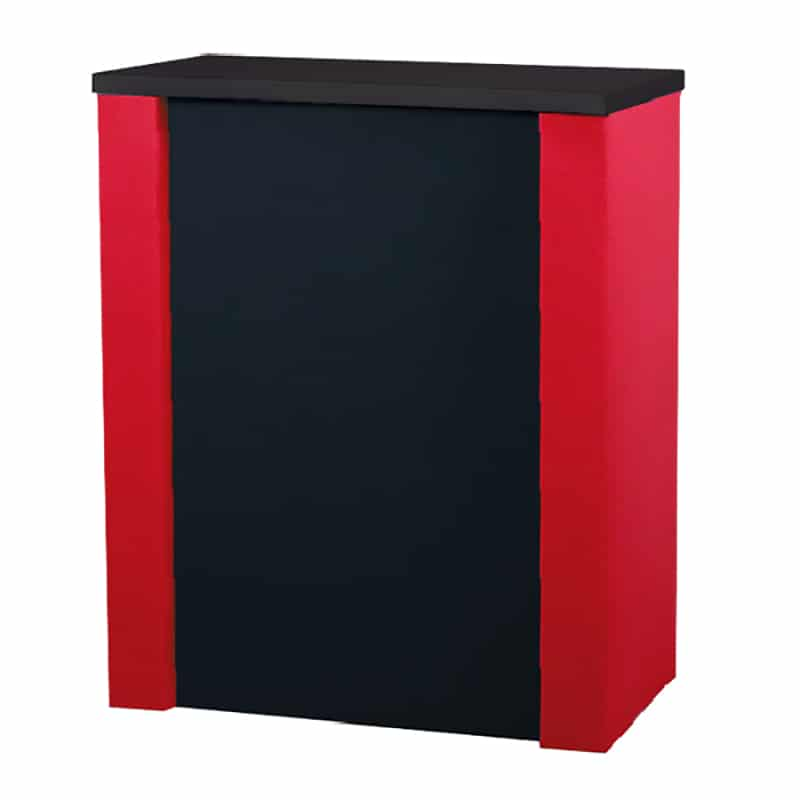 rolluxe counter kit made from 2 rolluxe cases with fabric wrap, red and balck