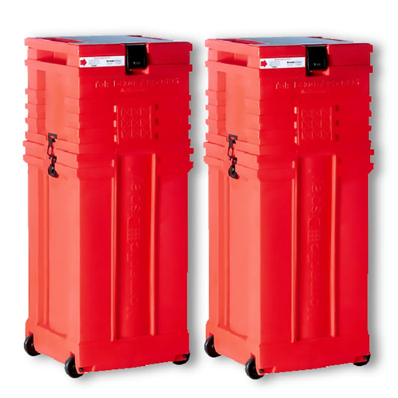 pair of red rolluxe hard shipping cases