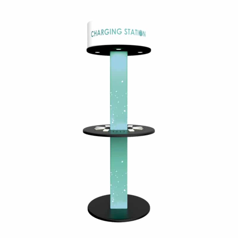 media charging tower with printed graphics and backlighting