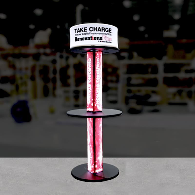 photo of media charging tower with red backlighting