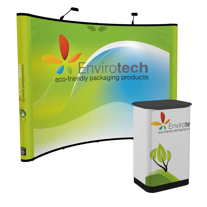 This booth fits perfectly in the industry-standard 10'x10′ display booth