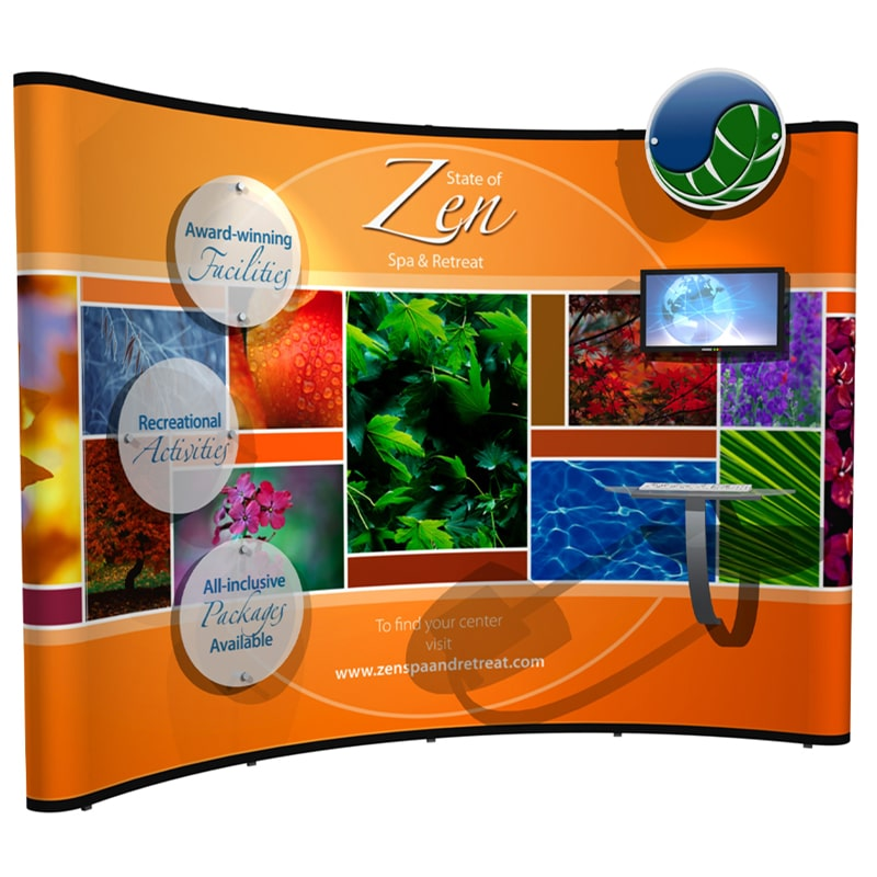 10 x 10 Foot Pop Up Kit – Zen showing multiple stand off graphics