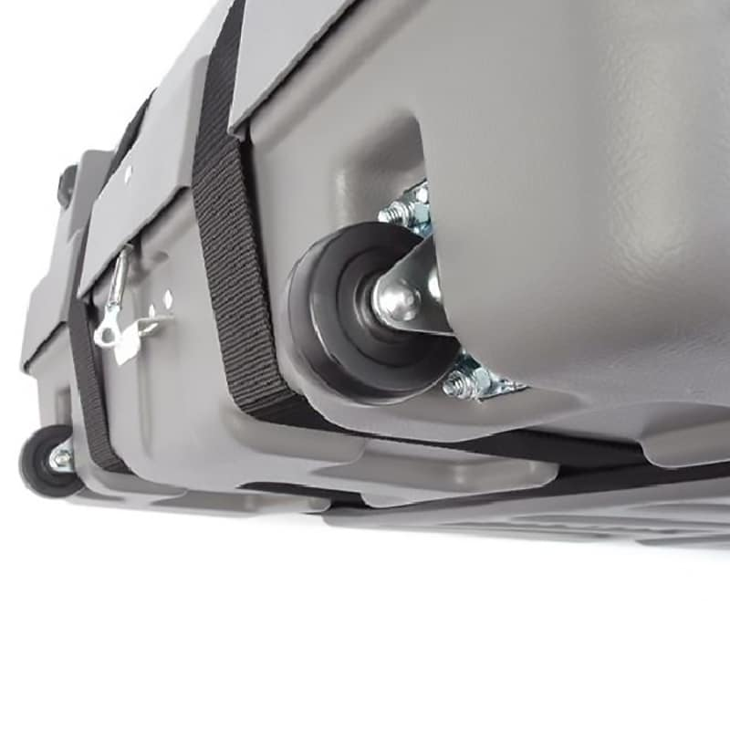 iron mobile shipping case, close-up of heavy-duty wheels