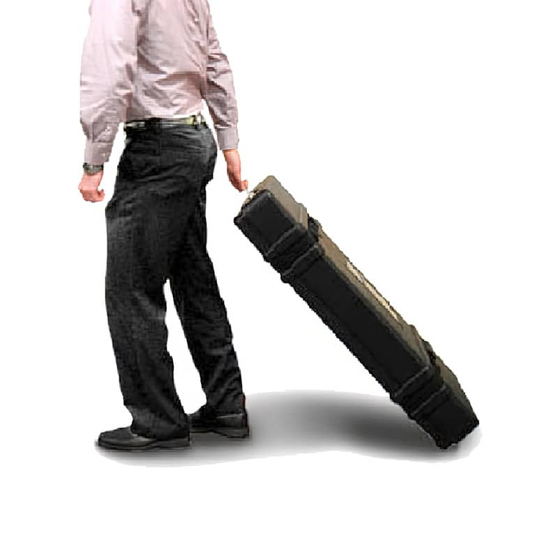 image showing man pulling flat packing case on wheels