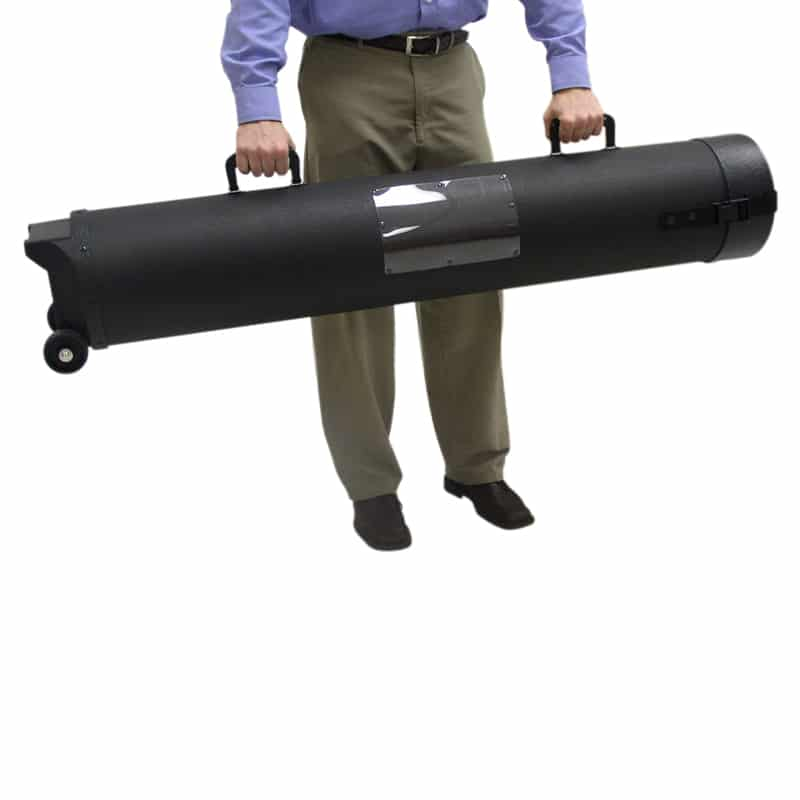 model holding 50 inch hard case with wheels by carry handles