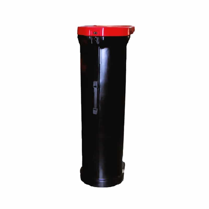 50 inch roll plus hard case, black with red lid
