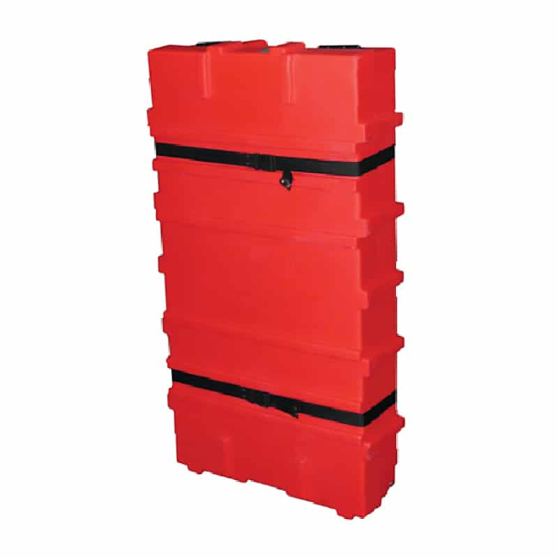 small flat pack 200 shipping case for displays, bright red with black straps, quarter view