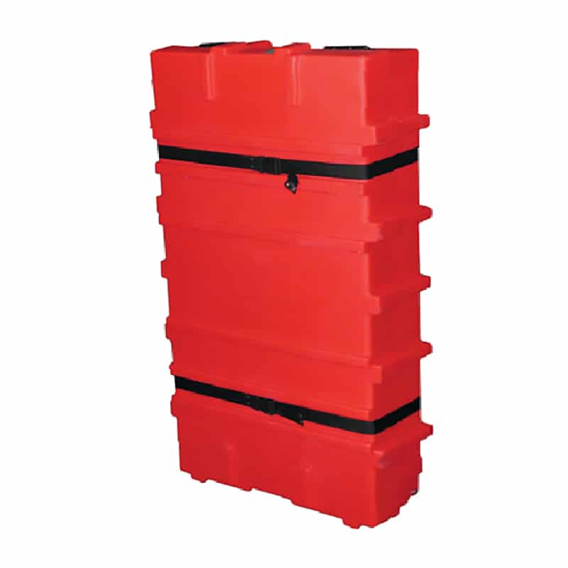 larger flat pack 300 shipping case for displays, bright red with black straps, quarter view