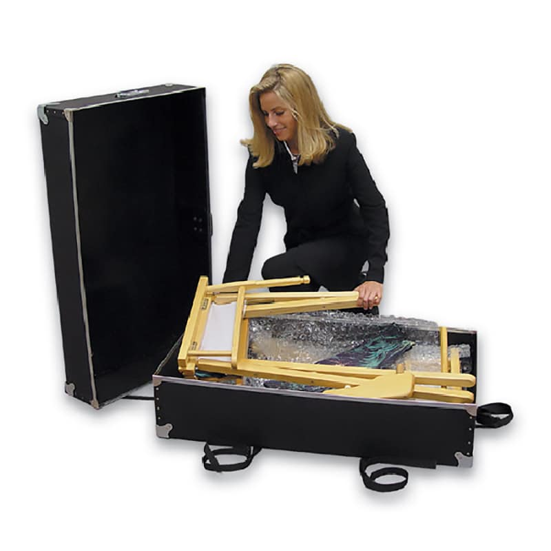 model shown packing director's chair into protective shipping case