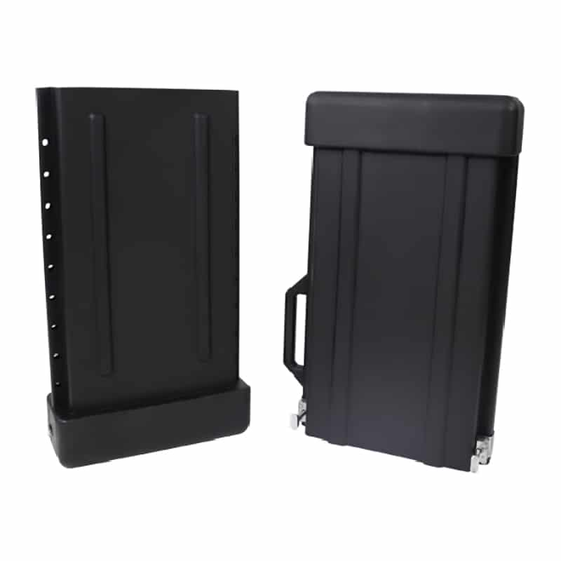 showing both halves of 2 piece expandable hard shipping case for banner stand displays
