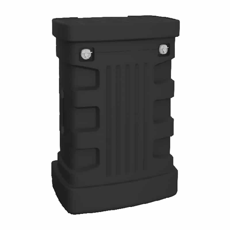 ocx sturdy hard shipping case with wheels, quarter view