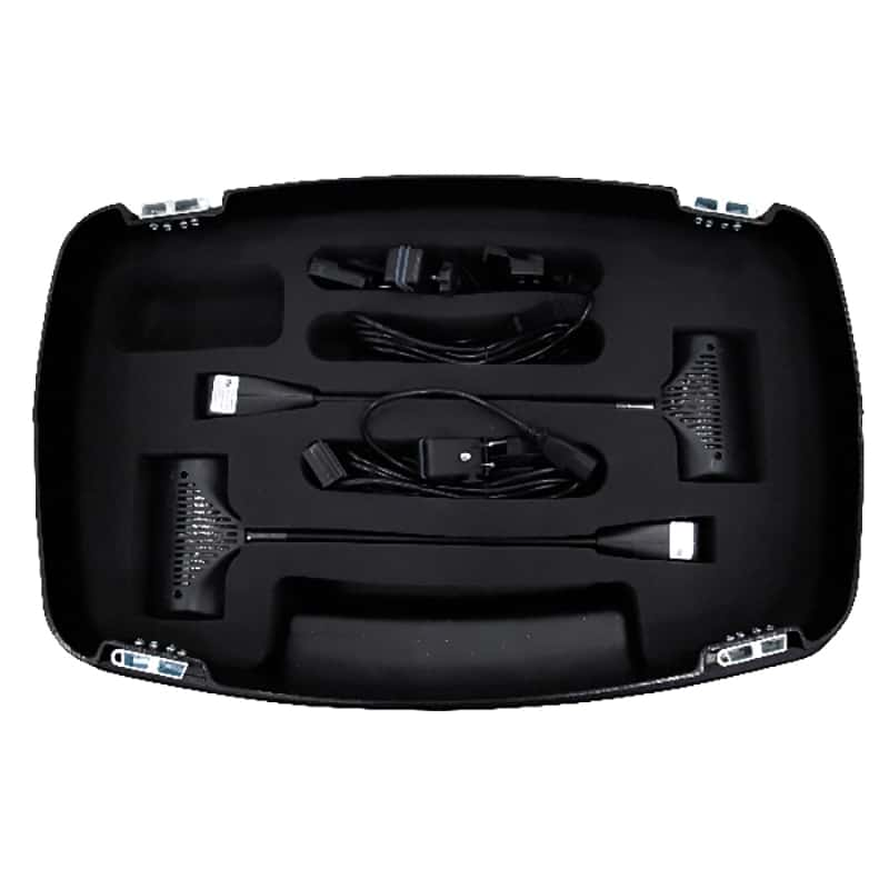 open top-down view of ocx hard case with display accessories packed into it