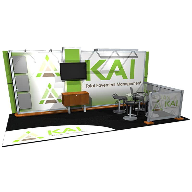 left view, a contemporary display with ample brand graphic space, AV technology for presentations