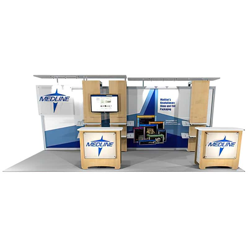 a trade show booth that can adapt to your ever-changing market challenges, front view