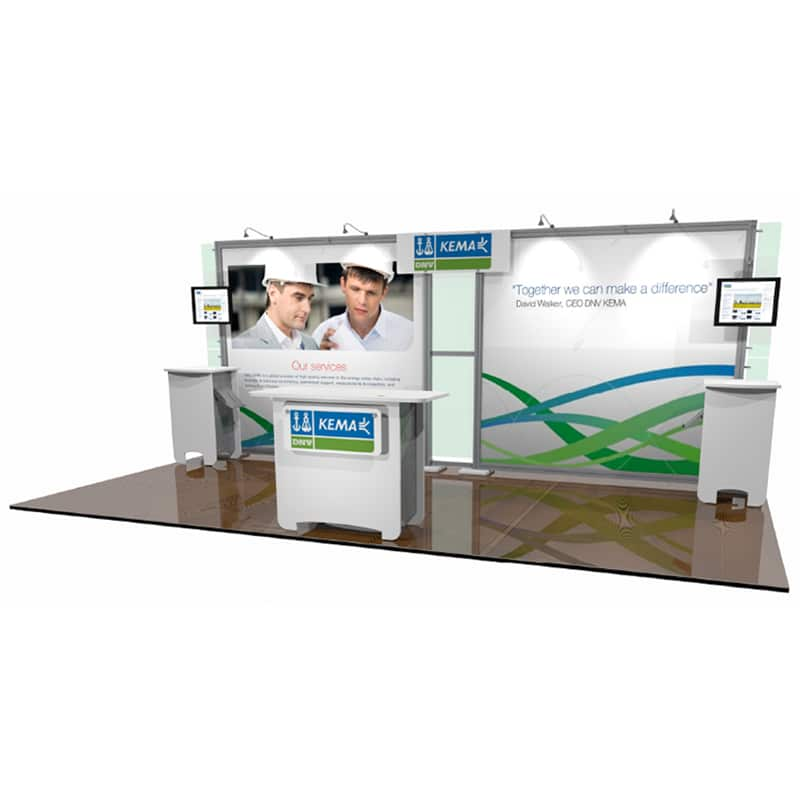 right hand view of this 10 x 20 Open Exhibit's scalable design that engages prospects and customers with distinctive style