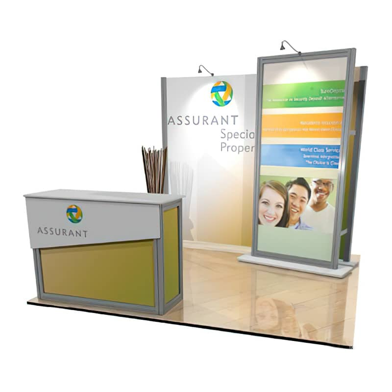 inline 10 x 10 Trade Show Display with a 3D standoff graphic wall for a clean and open display for visitors