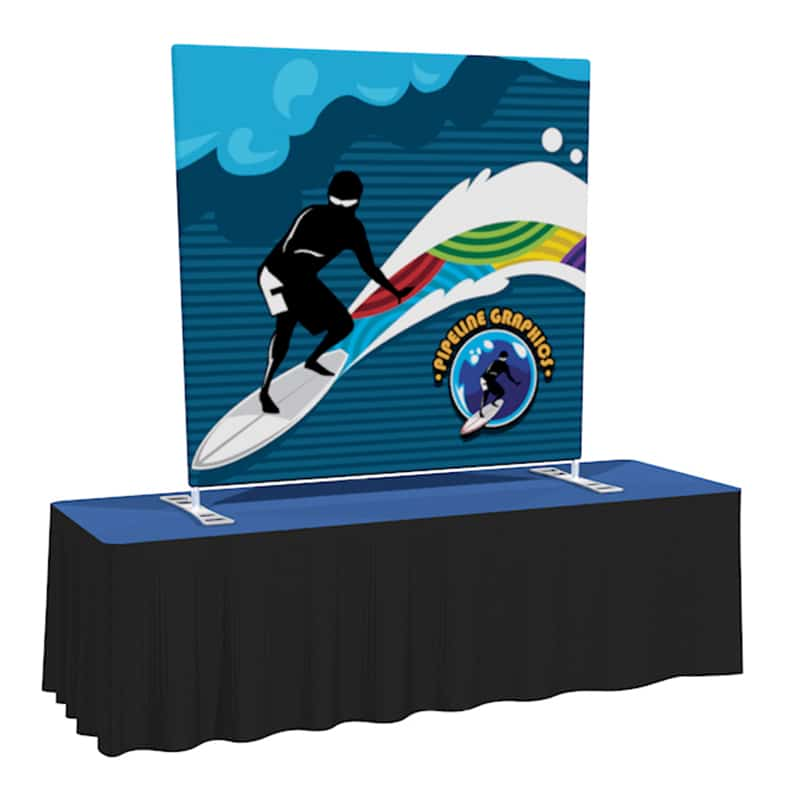 5 Foot Fabric Display Fab Lite with nylon carry bag, shown on table top