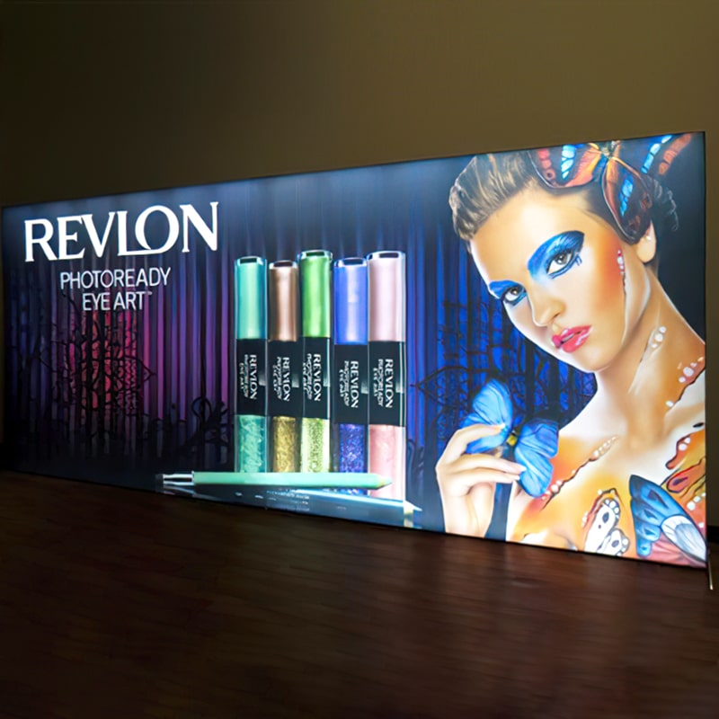 20 X 8 Double Light Wall Display has double-sided graphics that offer a bright light up visibility