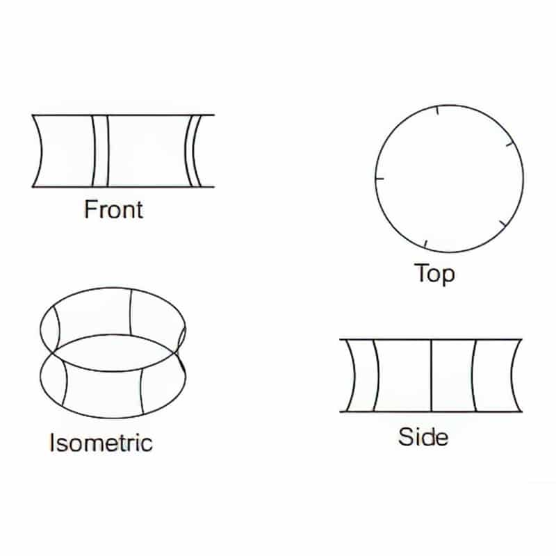 circle shape tube frame display iso views