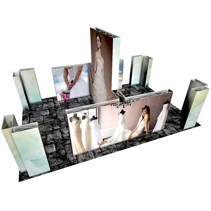 30 x 20 Pop up Display with lightweight frames, graphics, cases