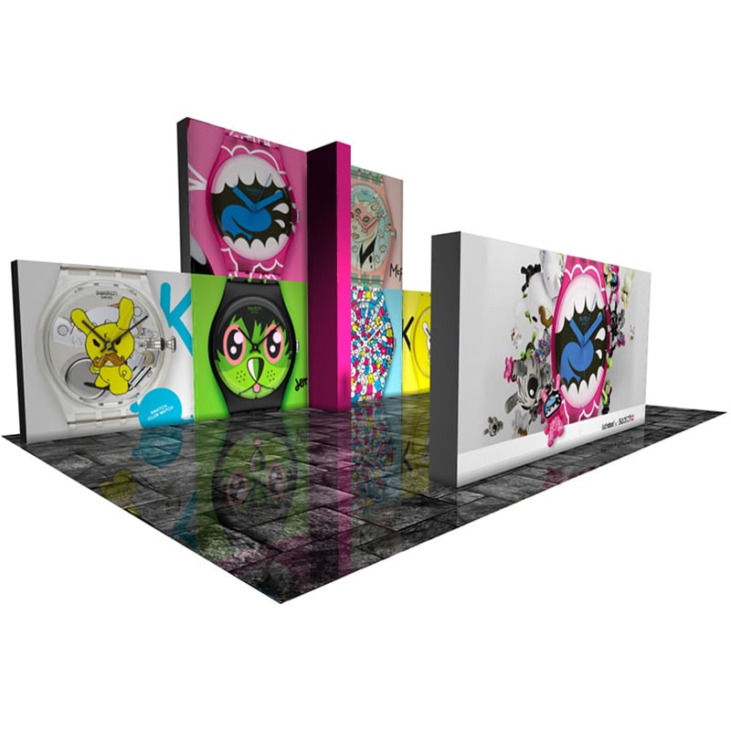 30 x 20 Fabric Display with lightweight frames, fabric graphics, cases