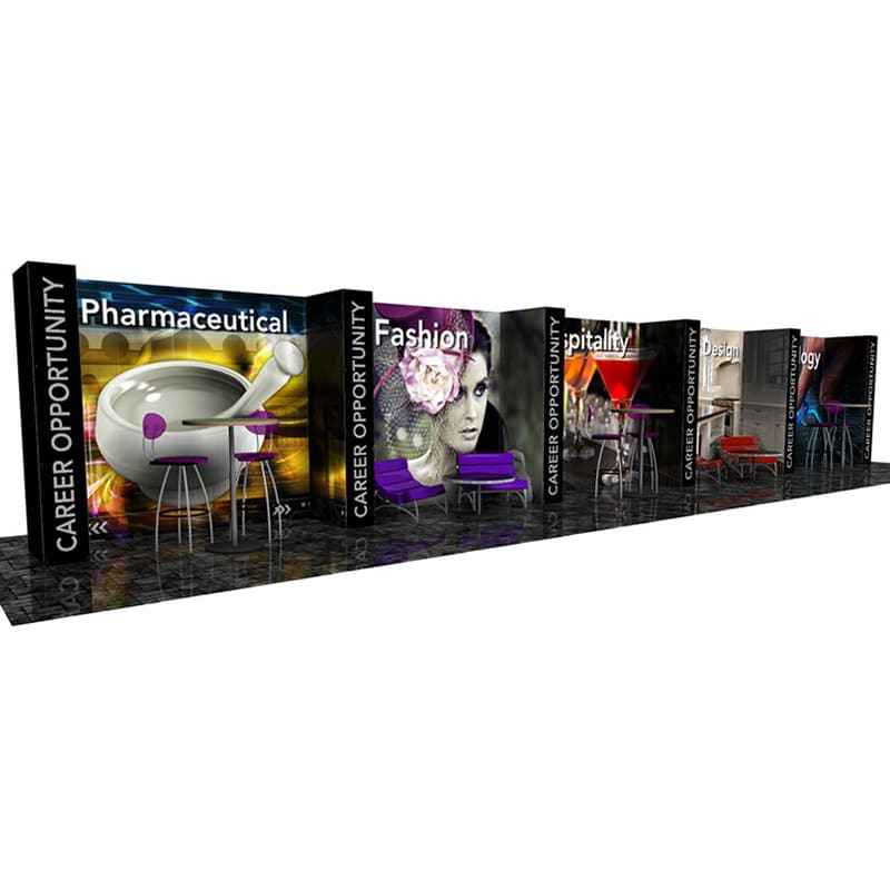 8 x 50 Fabric Display with lightweight pop-up frames, graphics, cases