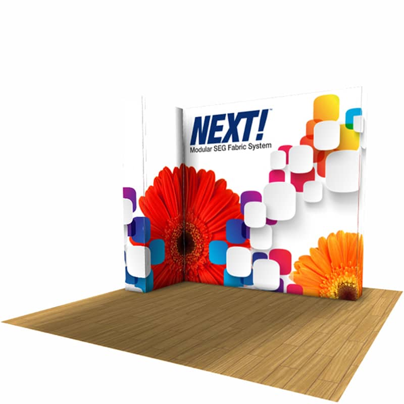 NEXT! 10′ SEG Modular Display is a pop-up exhibit featuring seamless Silicone Edged Graphics