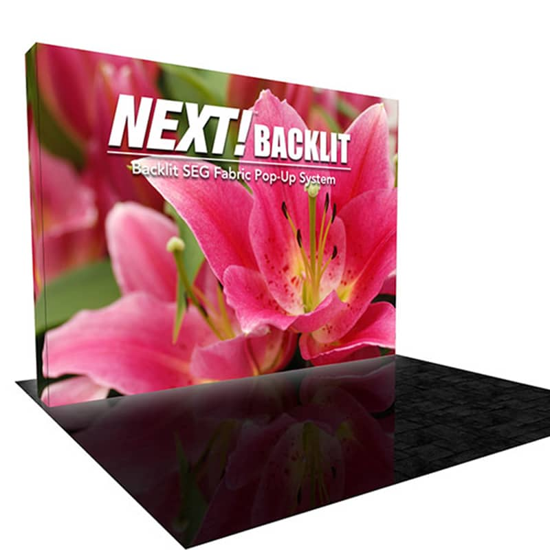 10 x 10 Backlit Pop up SEG Fabric Display – NEXT! Radiance