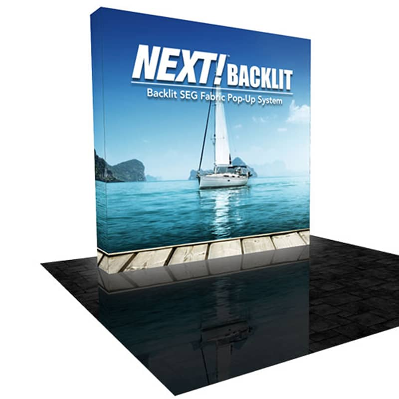 NEXT radianace LED backlit 8 foot pop-up fabric display