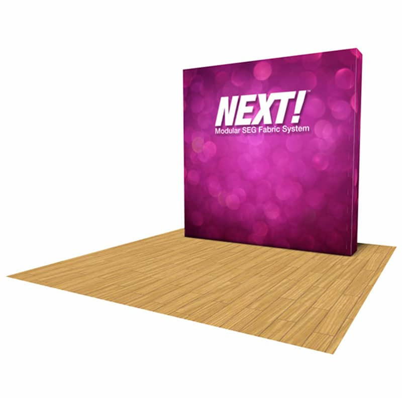 alternate view, colorful NEXT SEG fabric pop-up display