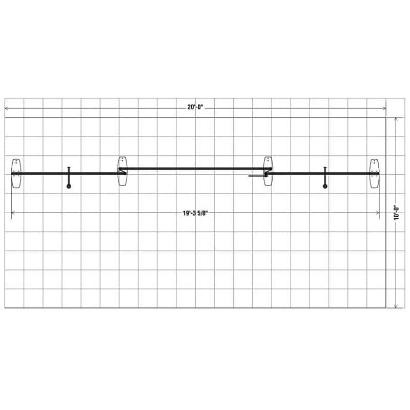 floorplan for the 10 x 20 Navigator Display Kit 002 that features a quick and easy connect tube frame system that is a one to two-person set up in 20-30 minutes