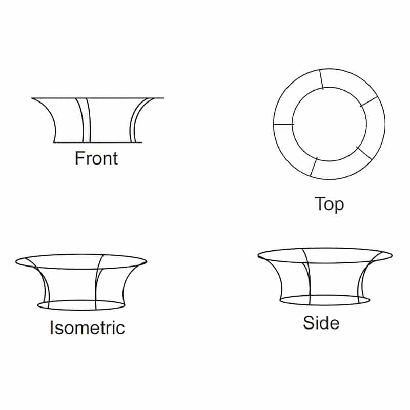 tapered circle shape tube frame display iso views