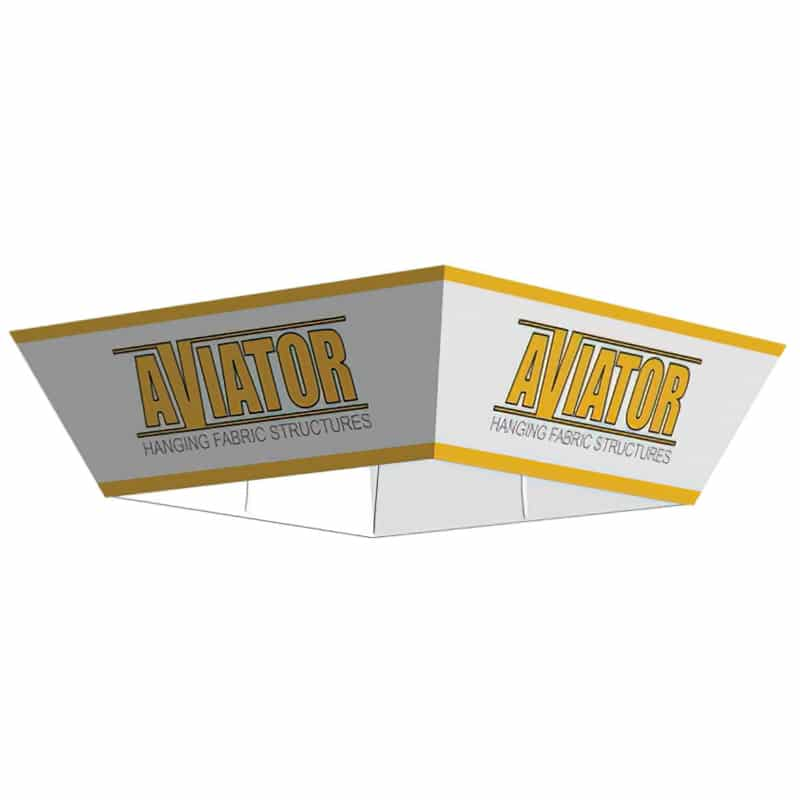 tapered square shape tube frame and fabric hanging display