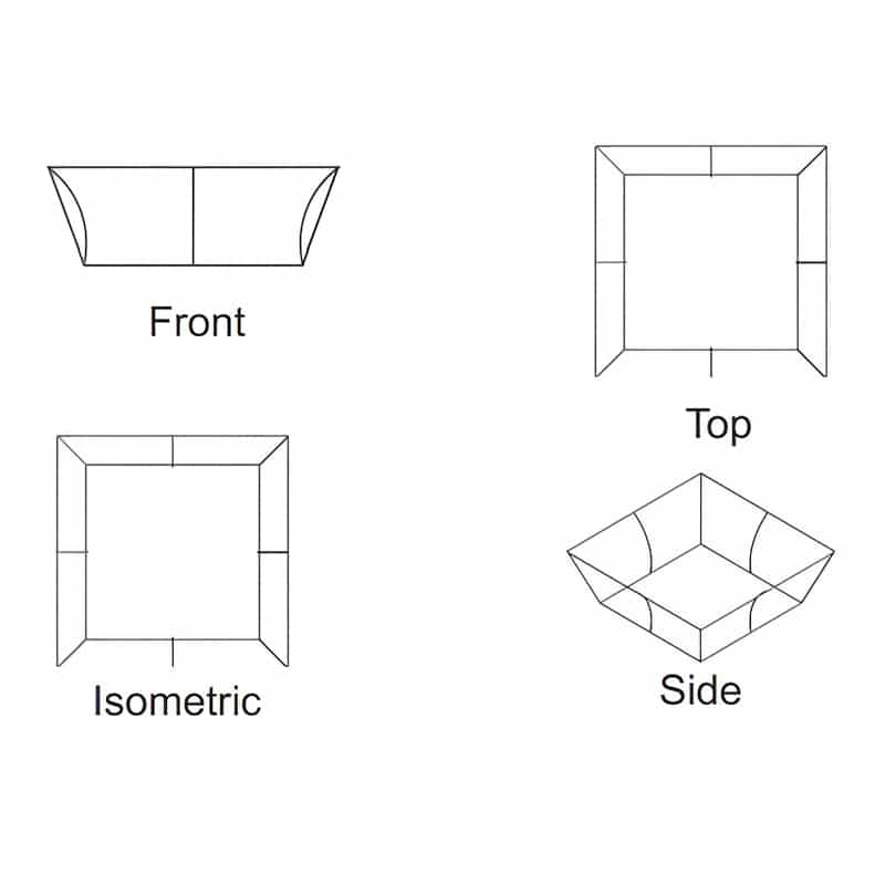 tapered square shape tube frame display iso views
