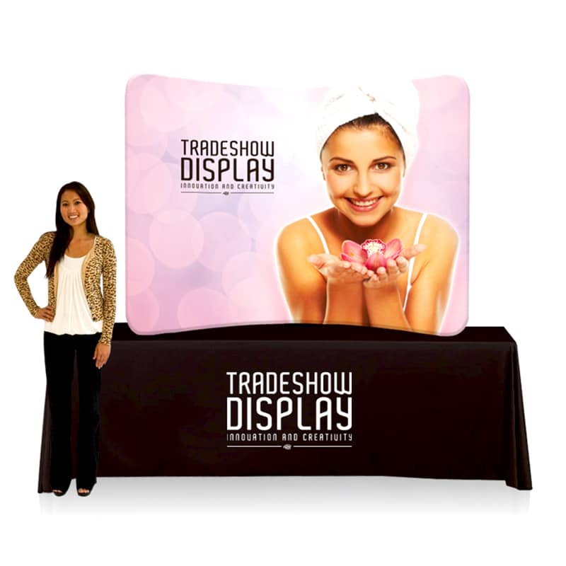 Table Top Fabric Display with graphic, on table with model for scale
