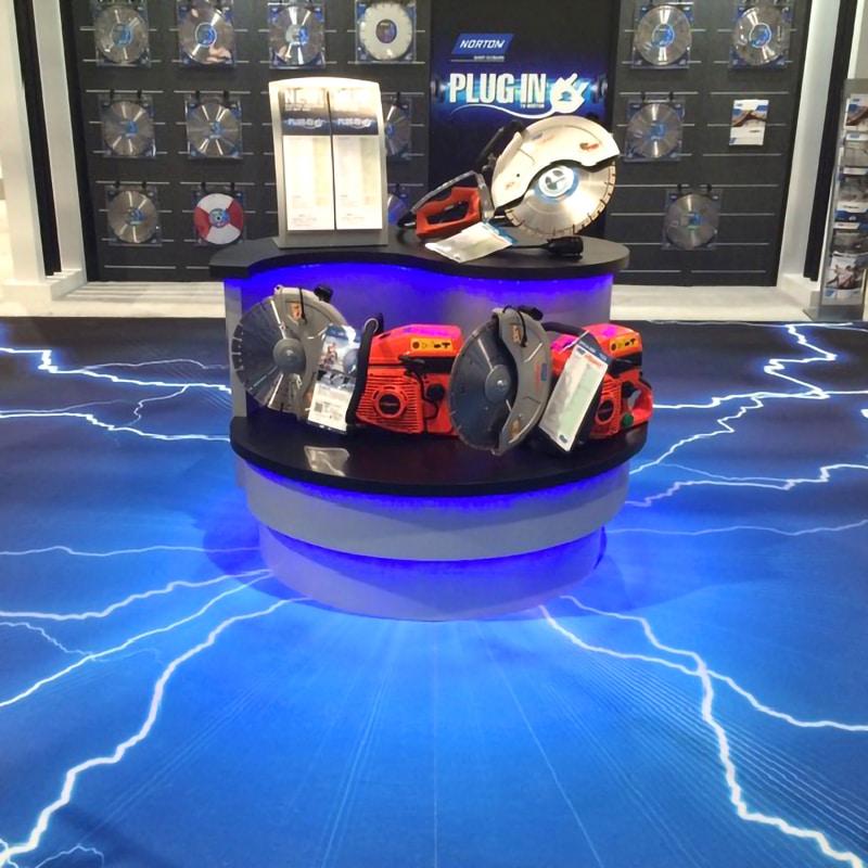 digitally printed flexfloor gallery example, lightning from display