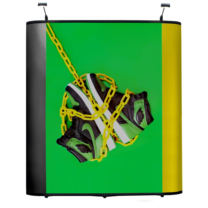 7 foot orion pop-up display with sports shoes graphics